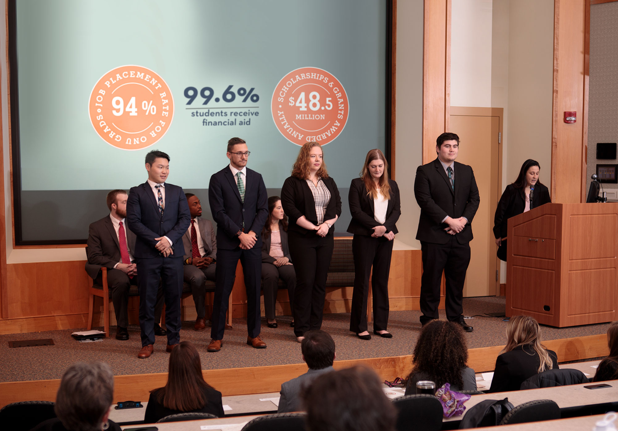Students on presentation stage