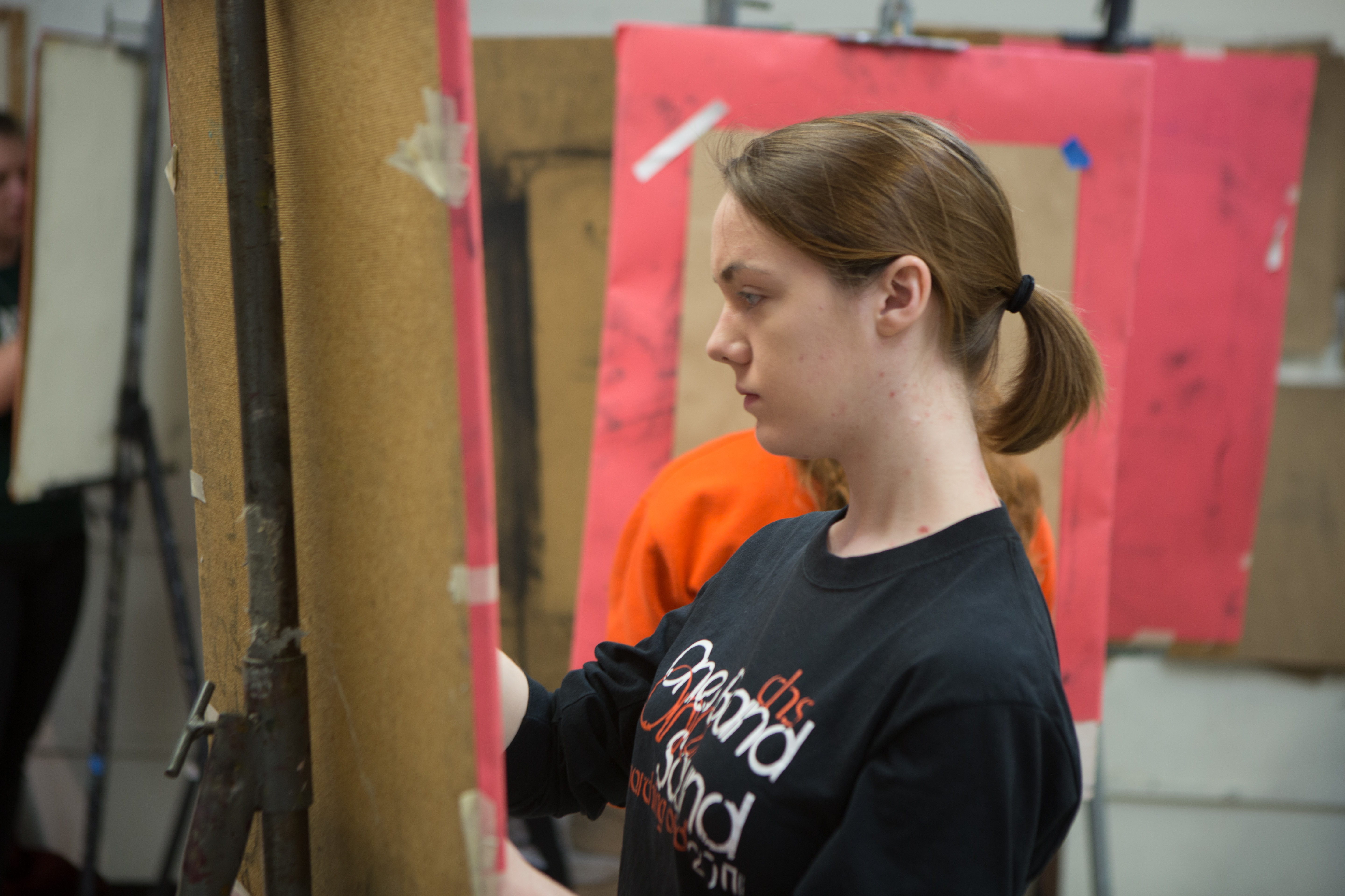 A student works in the Wilson Art Center.