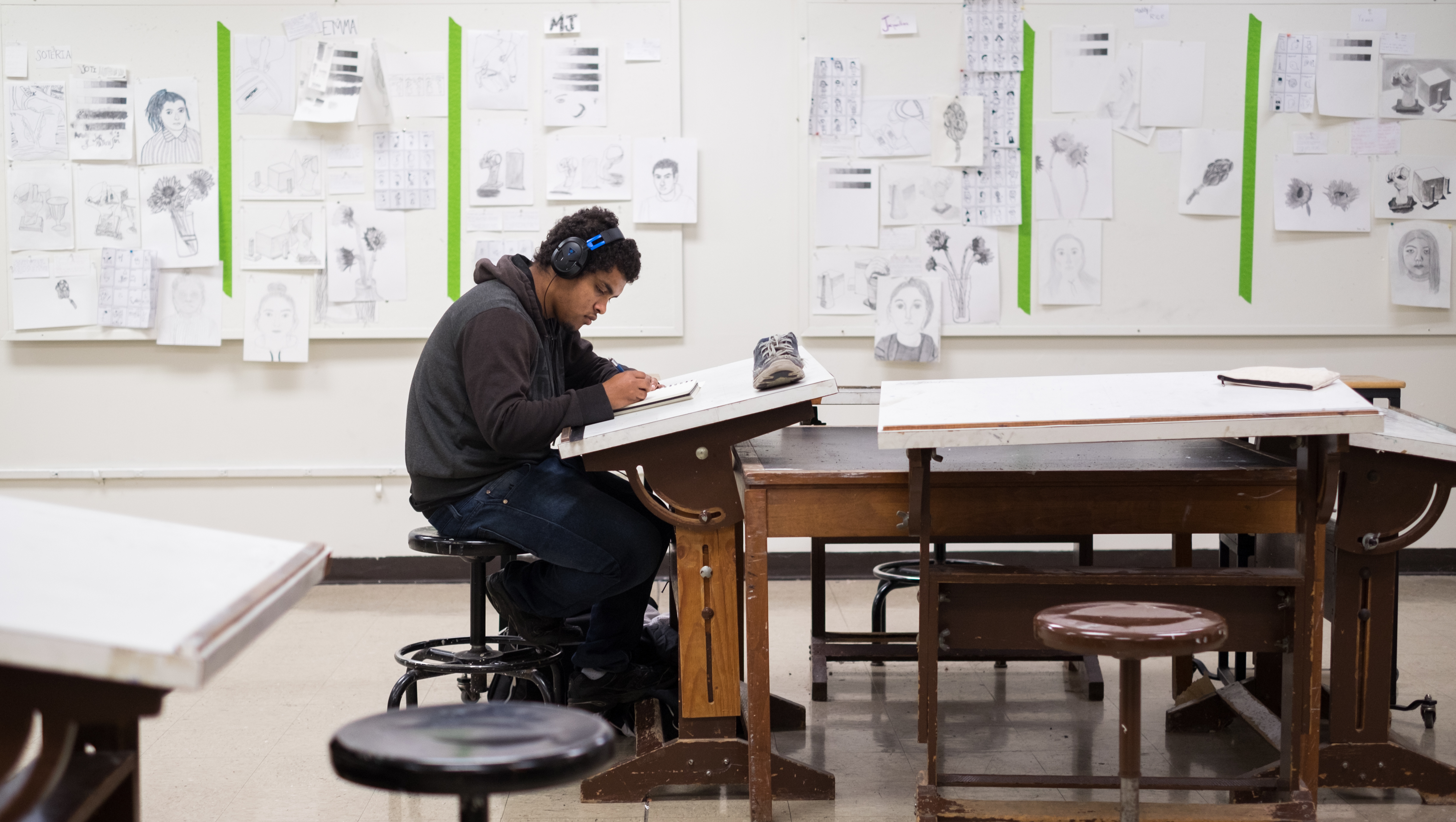 Ohio Northern University freshman M.J. Francis works on sketches in Wilson Art Building.