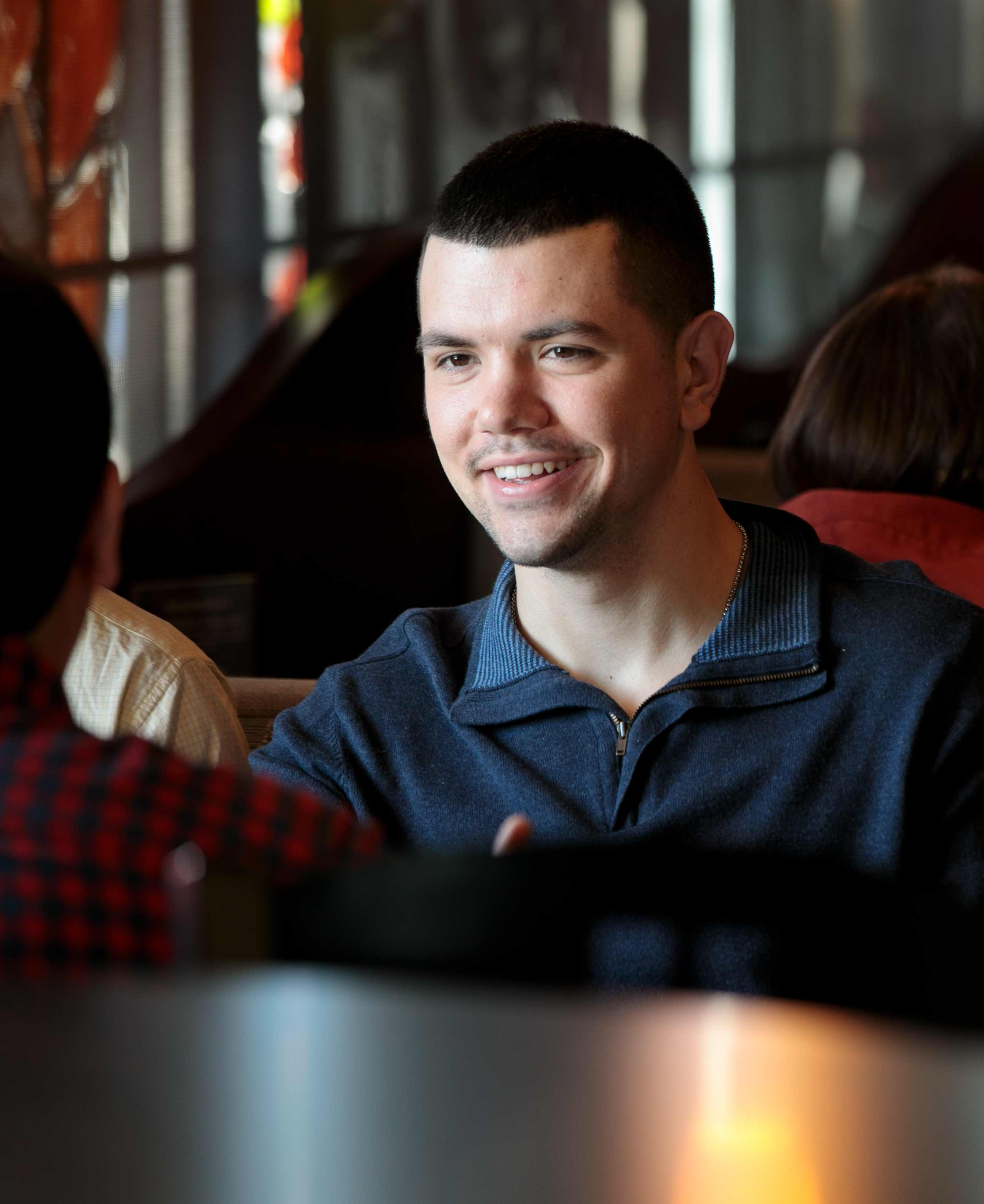 First-year Ohio Northern University College of Law student Matt Sharp studies at Cosi at Northern.