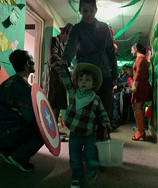 Area children got to trick or treat in decorated residence halls