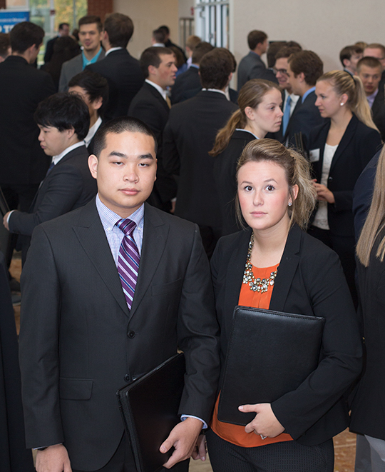Students at a presentation event