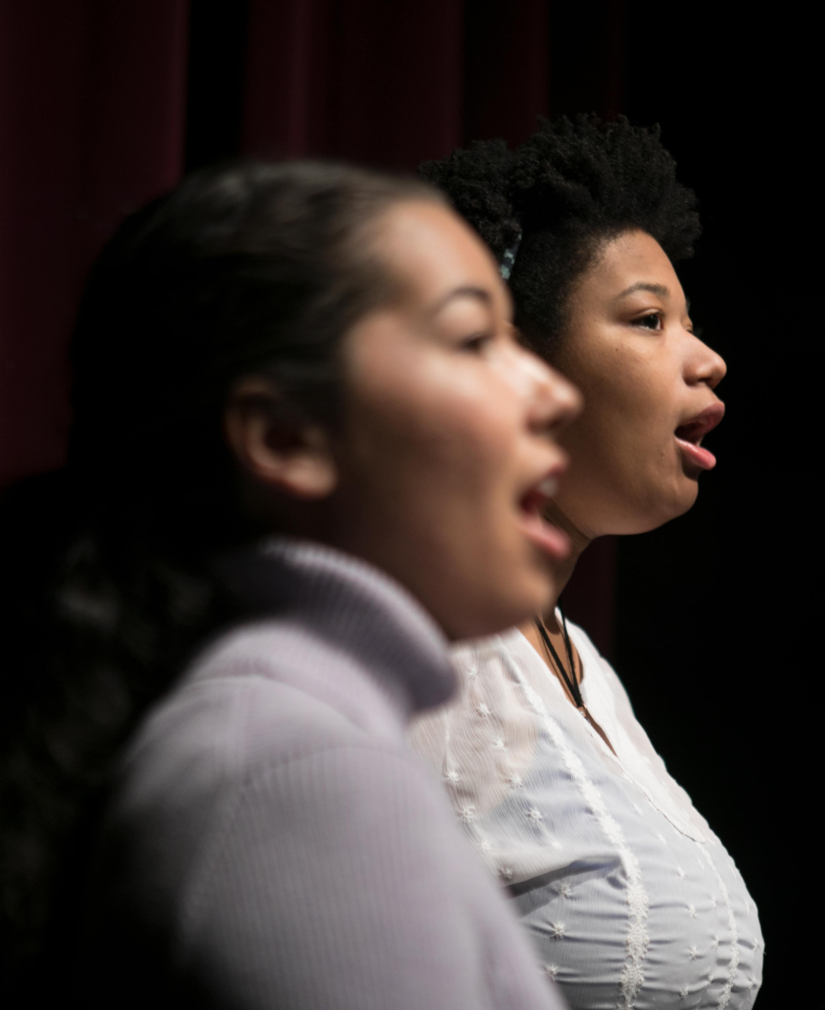 Students sing in the gospel ensemble at Ohio Northern University.