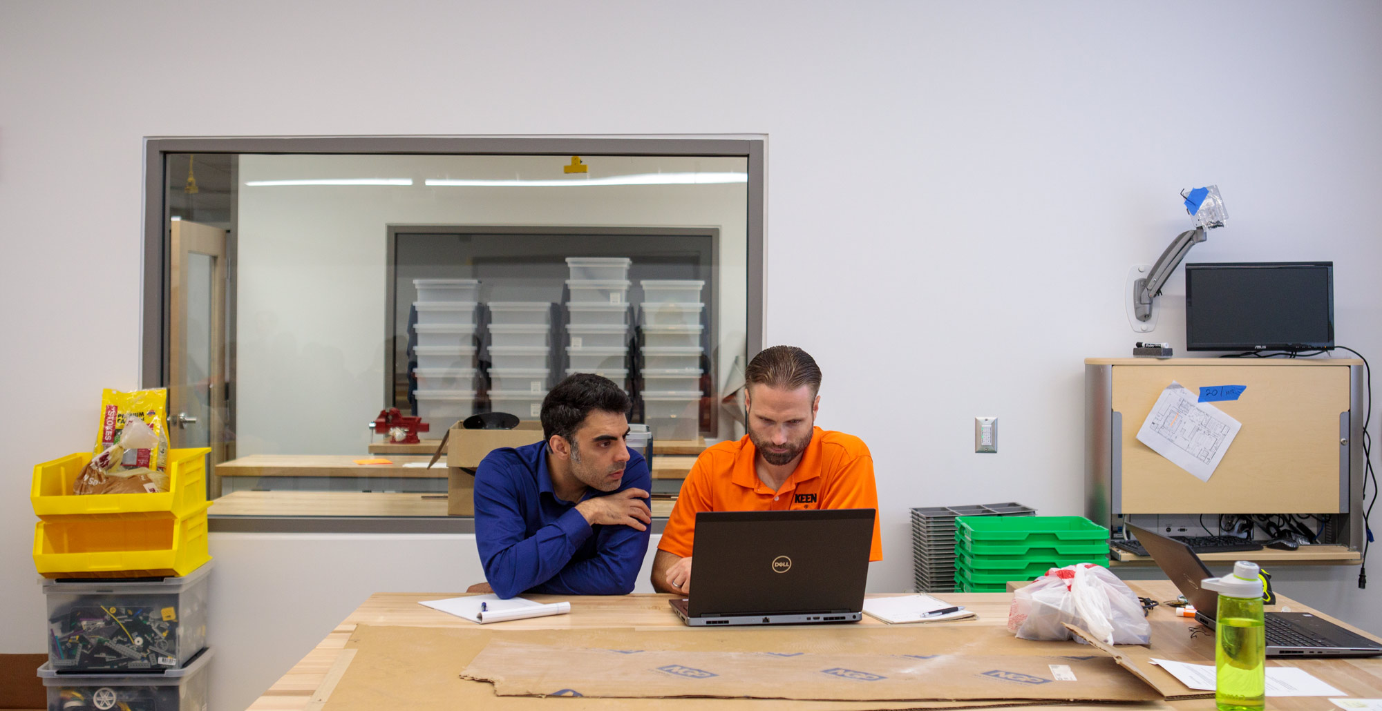 From left, Ramin Rabiee, instructor of civil engineering and Heath LeBlanc work on the second floor, associate professor of electrical and computer engineering.