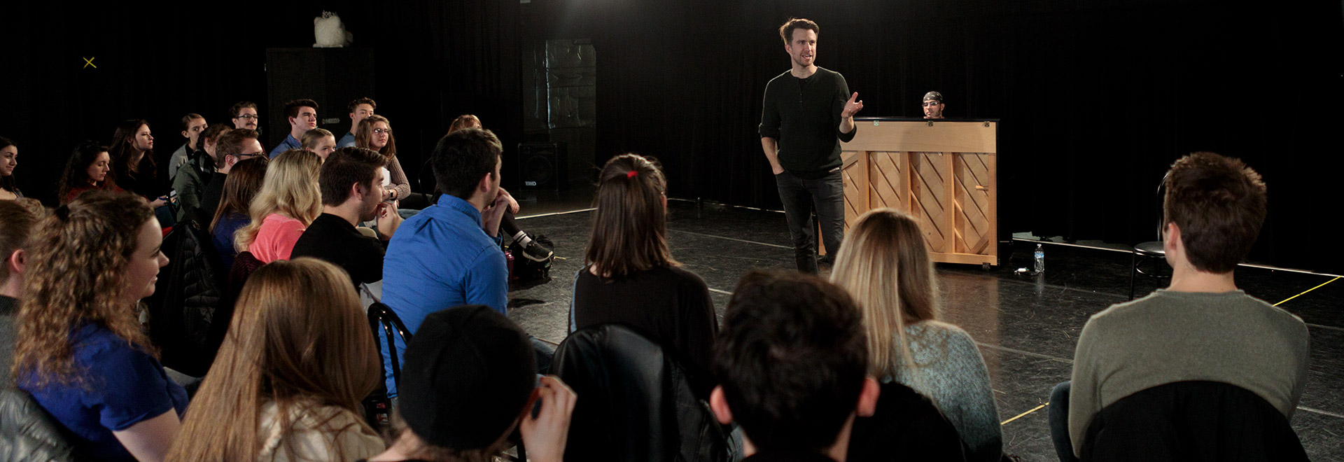 Tony Award winning actor Gavin Creel works with Ohio Northern University Department of Theatre students during a master class.