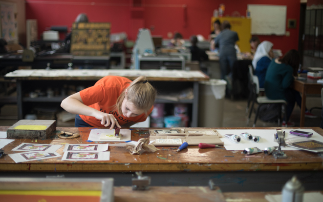 Sophomore Emily Fergus works in printmaking class in Wilson Art Building on the campus of Ohio Northern University.