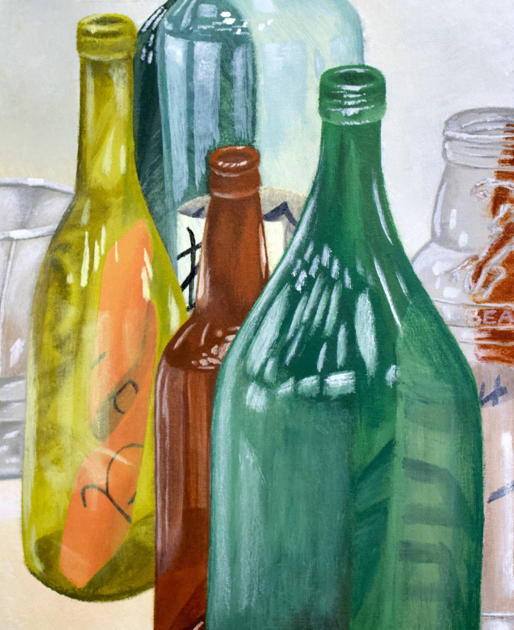 Painting of glass bottles.