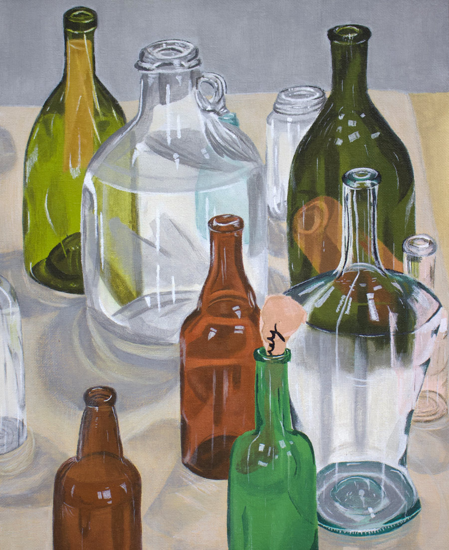 Glass bottle painting created by a studio arts student.