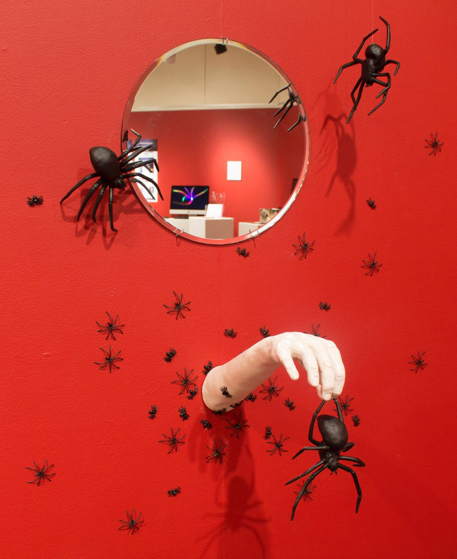 Spider phobia ceramic display created by a student.
