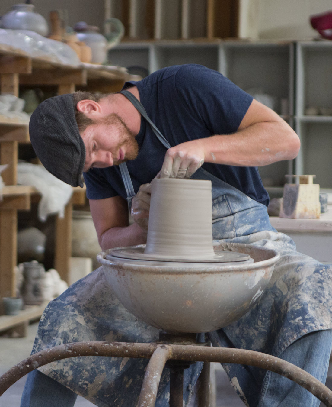 Andrew Steingass, adjunct instructor of art, works with clay in the Wilson Art Center at Ohio Northern University.