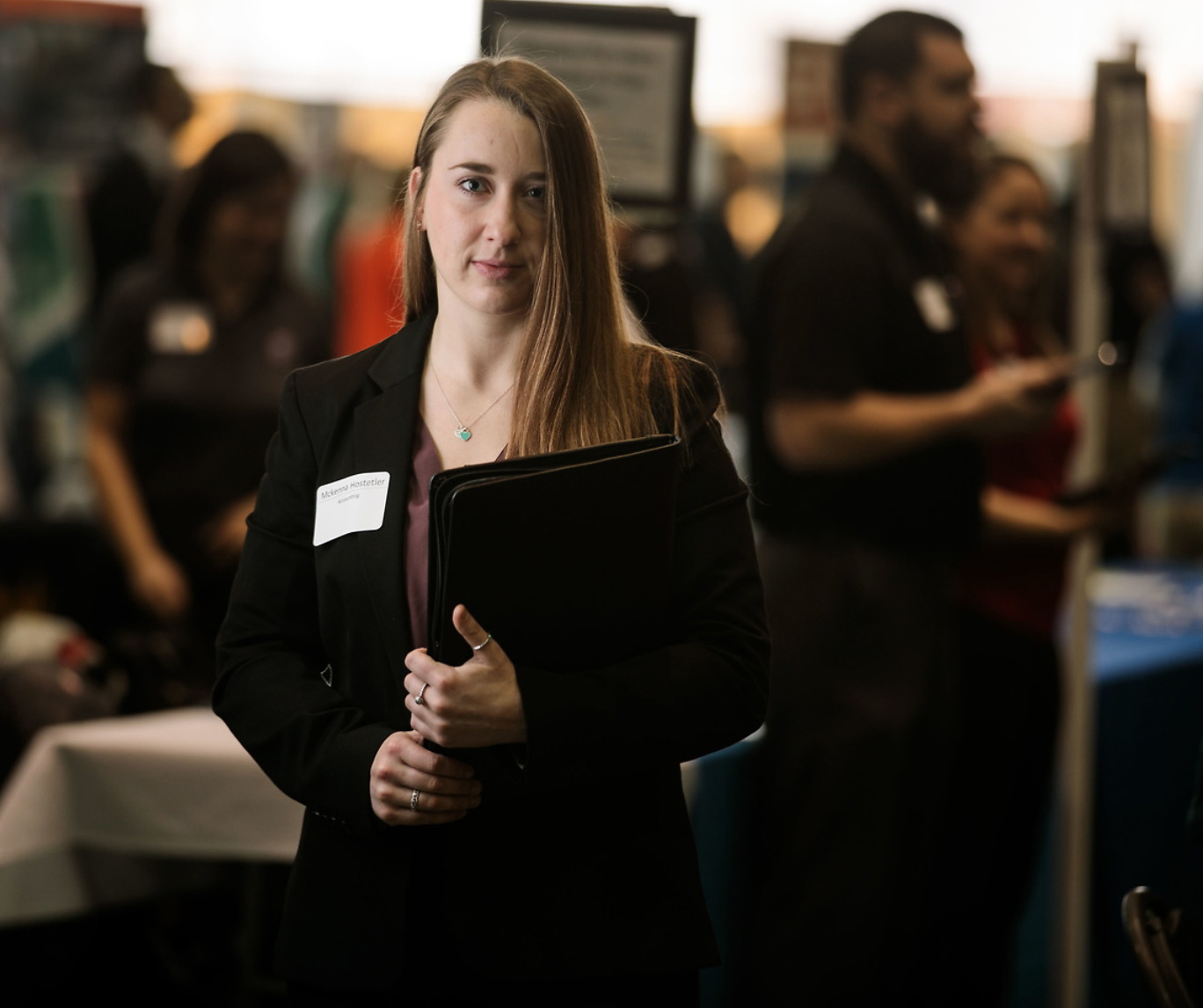 Student participating in the annual career fair
