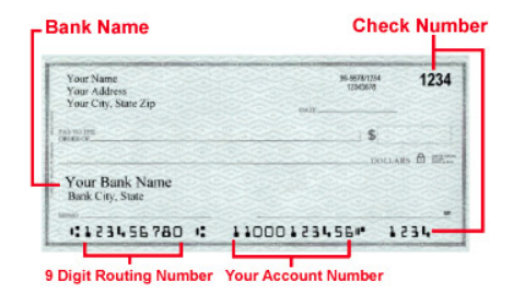 Sample of check routing and account numbers
