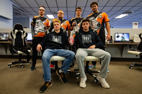 Esports players in the ONU esports facility